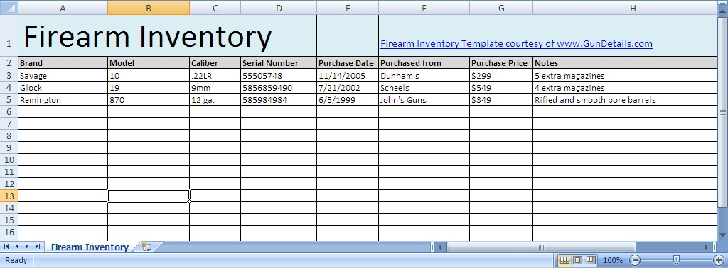 Free Gun Inventory Spreadsheet Gun Details – Inventory Worksheet